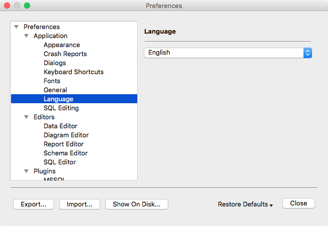 Preferences Dialog - Language