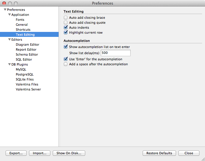 Preferences Dialog - Text Editing