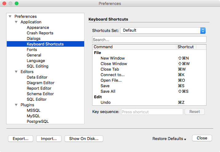 Preferences Dialog - Keyboard Shortcuts