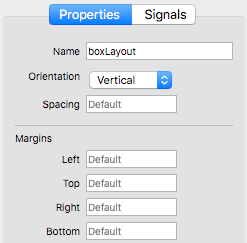 Form Editor - BoxLayout Properties