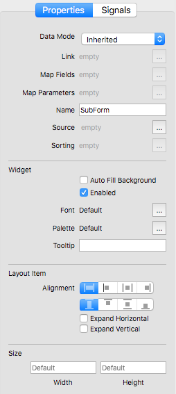 Form Editor - Sub Form Properties