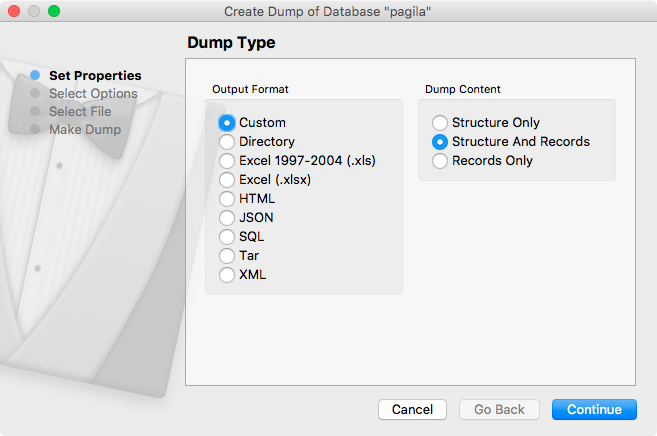 Create Dump Dialog : Kind (PostgreSQL)