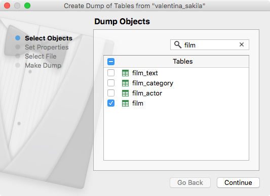 Create Dump Wizard - objects filter
