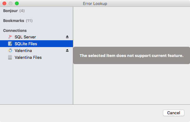 Error Lookup Dialog (Unable)