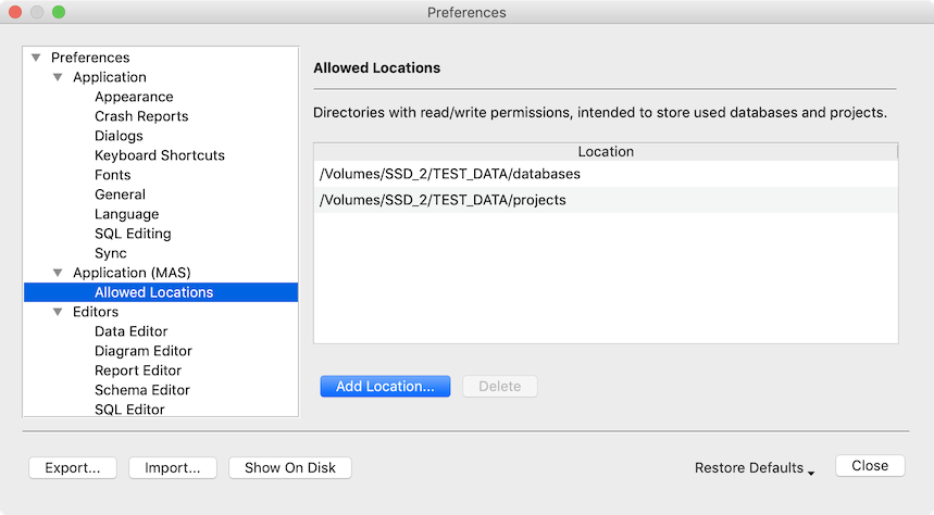 Preferences Dialog - Allowed Locations