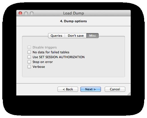 Load Dump [PostgreSQL] Dialog Help [Valentina Database Wiki]